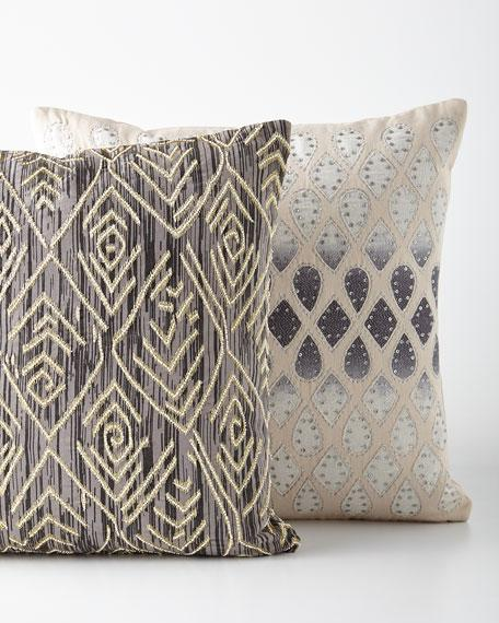 geometric silver applique pillow