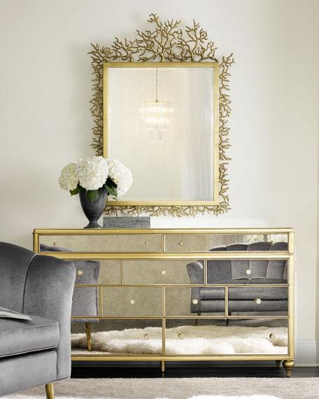 Super Gold Frame Mirrored Multi Drawer Dresser KC15