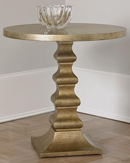 gold geometric pedestal round side table view full size