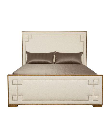 wood and upholstery bed. Ivory Wooden Frame California King Bed