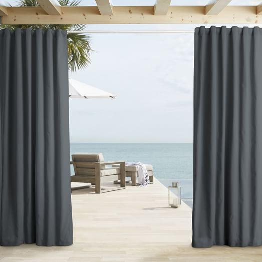 Solid Gray Outdoor Curtain