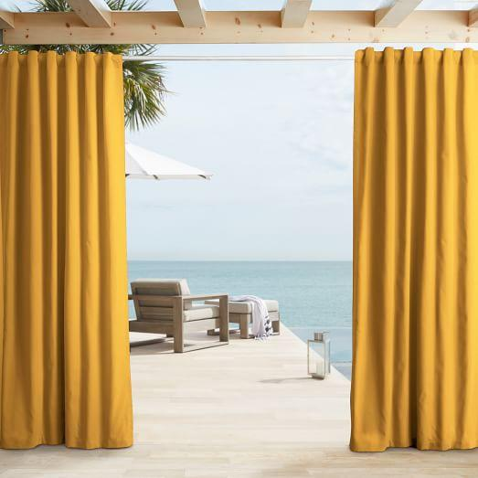 Solid Yellow Outdoor Curtain