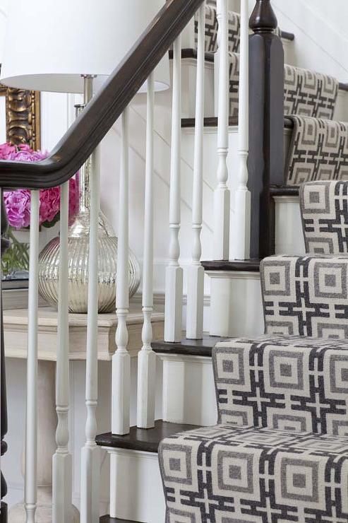 Gray Stair Runner Country Entrance Foyer