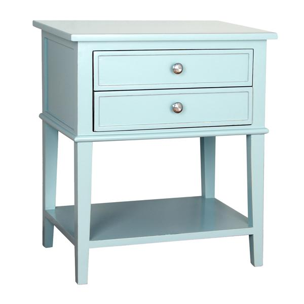 Attractive Blue Two Drawer Shelf Side Table