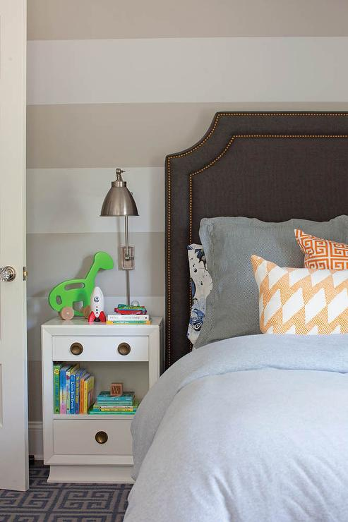 Boys Bedroom With White And Beige Striped Walls Transitional Boy S Room