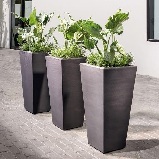 Gray Ribbed Tapered Planter