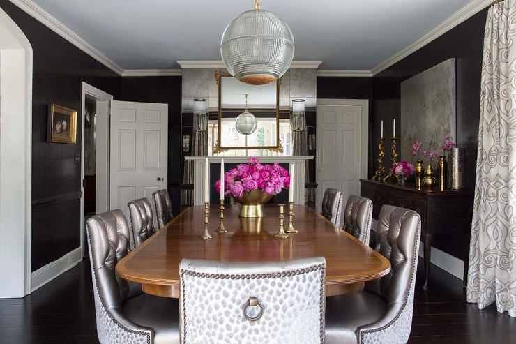 Black and gray dining room with antique mirror wall - Black walls in dining room ...