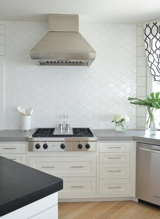 kitchen with ann sacks white arabesque tiles