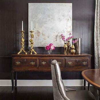 Black and gray dining room with antique mirror wall for Black dining room walls