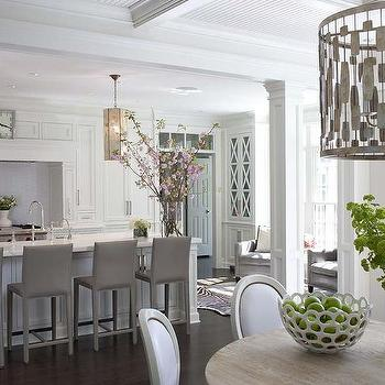 white kitchen with gray folio top grain leather bar stools