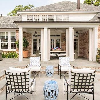 wrought iron patio chairs with brass trim and blue rope stools - Wrought Iron Patio Chairs
