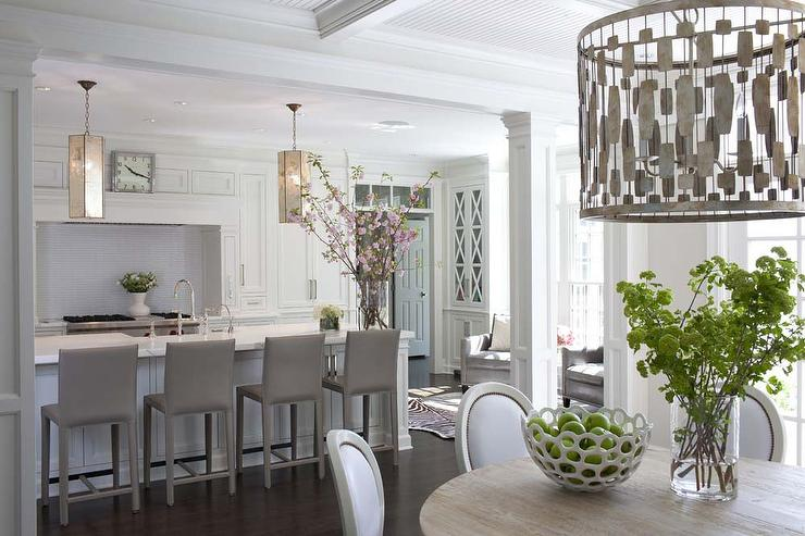 White Kitchen with Gray Folio Top Grain Leather Bar Stools ...