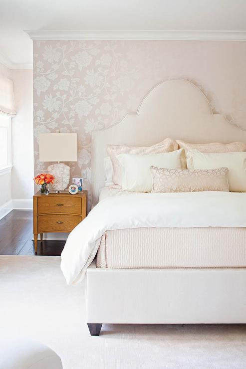 Pale Pink Bedroom With Silver And Floral Wallpaper