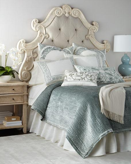 Ivory Curved Ornate Frame Tufted Headboard
