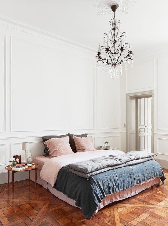 Pink and Gray French Bedroom with Parquet Wood Floors ...