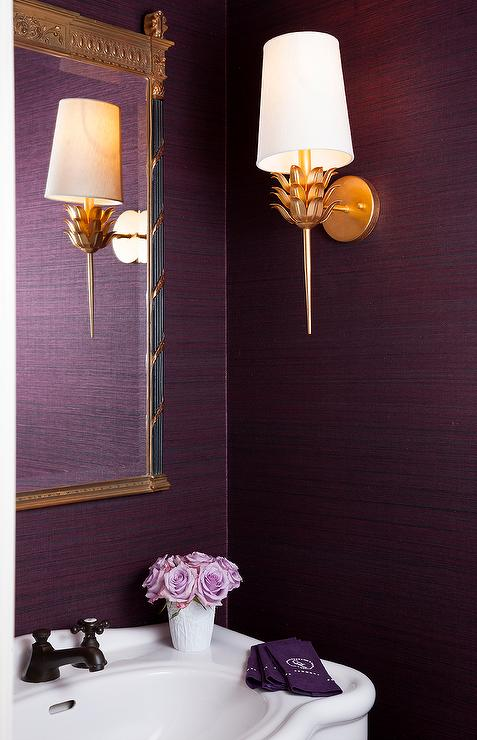Purple powder room with parisian pedestal sink transitional bathroom Purple and gold bathroom accessories