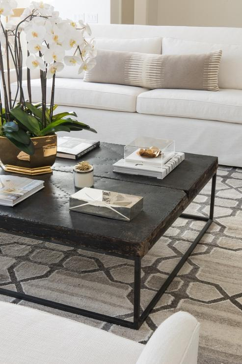 Attractive White and Gray Living Room with Black Distressed Coffee Table  MX03