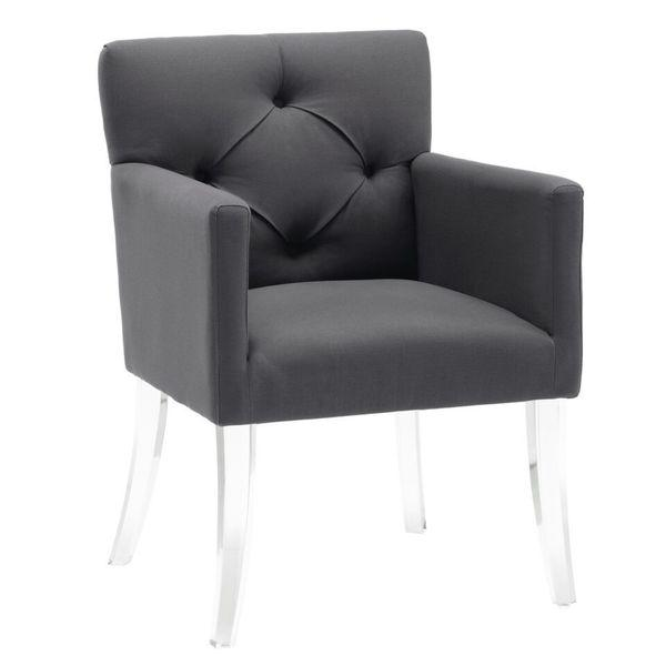 Gray On Tufted Linen Acrylic Legs Chair
