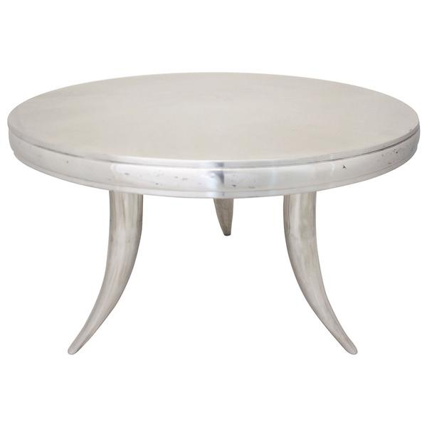 Silver Aluminum Curved Legs Coffee Table