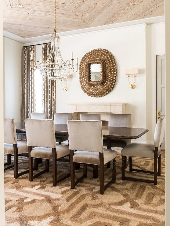 Brown And Gray Dining Room With Peacock Mirror Over