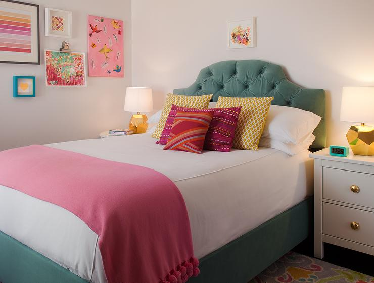 green and pink girls bedroom with gold lamps transitional girl 39 s room. Black Bedroom Furniture Sets. Home Design Ideas