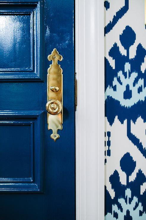 Glossy Blue Front Door with Brass Door Handle - Transitional ...