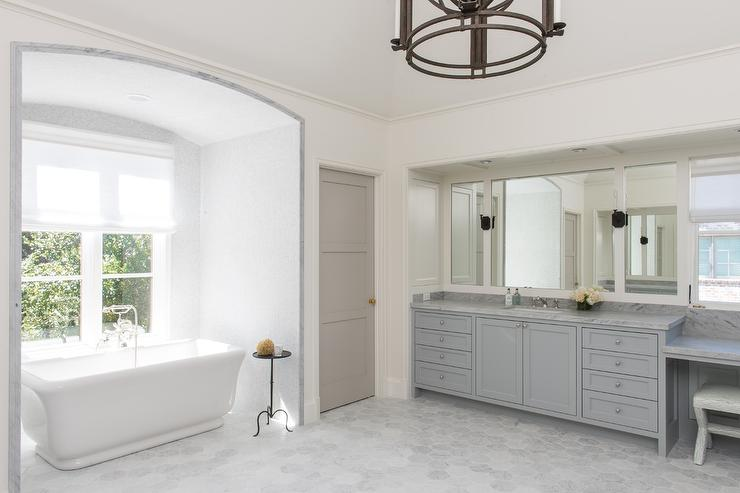White and Gray bathroom with Gray 3 Panel Water Closet Door ...