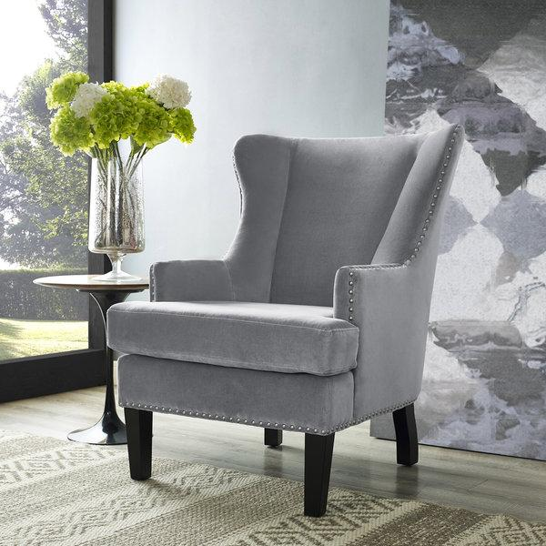 Marvelous Gray Velvet Wingback Accent Chair