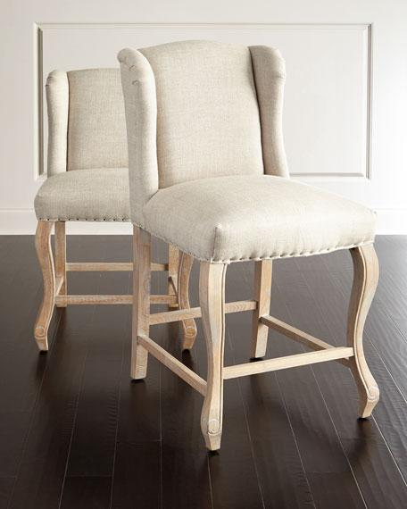 Beige Linen Winged Counter Stool