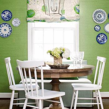 White And Apple Green Dining Room With White Windsor Chairs
