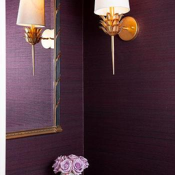Chinoiserie powder room asian bathroom hickman for Purple and gold bathroom ideas