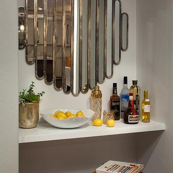 Bar Nook With Floating Bar And Art Deco Mirror