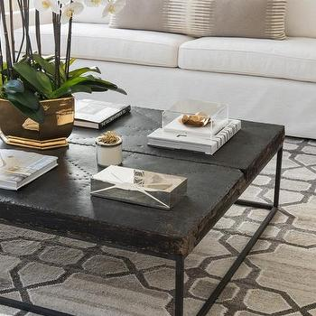 White And Gray Living Room With Black Distressed Coffee Table