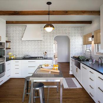 black and white quatrefoil kitchen backsplash tiles