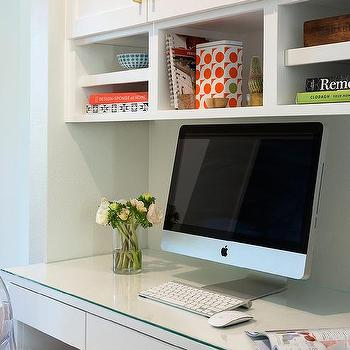 Gl Top Built In Desk With Overhead Shelves