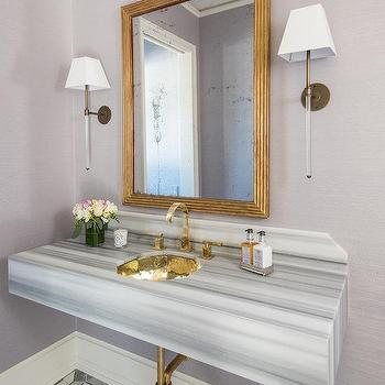 Genial Gray And Gold Powder Room With Gray Striped Marble Sink Vanity