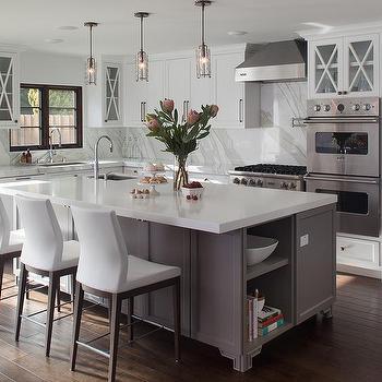 White And Gray Kitchen With Gray Marble Herringbone Tile Backsplash Transitional Kitchen