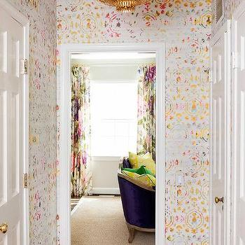 Aerin hampton pendant design ideas pink and gold foyer with kandy brit pop wallpaper mozeypictures Choice Image