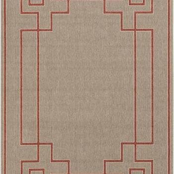 Beige And Red Greek Key Outdoor Rug