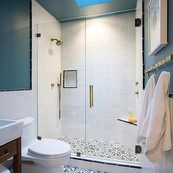 Walk In Shower With Black And White Quatrefoil Cement Tile Shower Floor