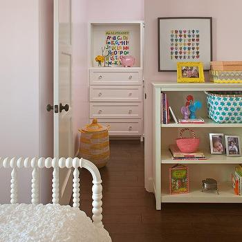 white and pink girl bedroom with white jenny lind bed and yellow trellis rug - Jenny Lind Bed