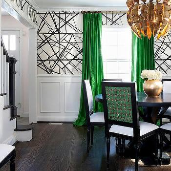 Green And Black Dining Room With Gold Feathers Chandelier