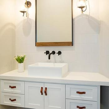 White Washstand With Leather Hardware Pulls Transitional