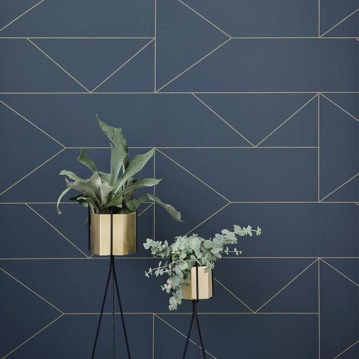 Gold Lines Navy Blue Wallpaper