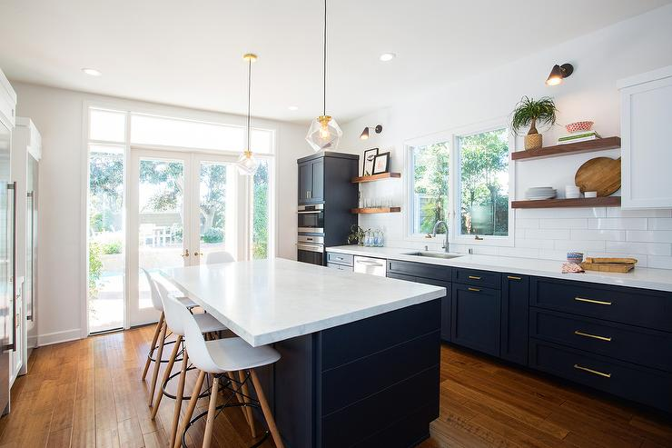 View Full Size Fabulous Kitchen Features Navy Blue Shaker Cabinets Adorned With