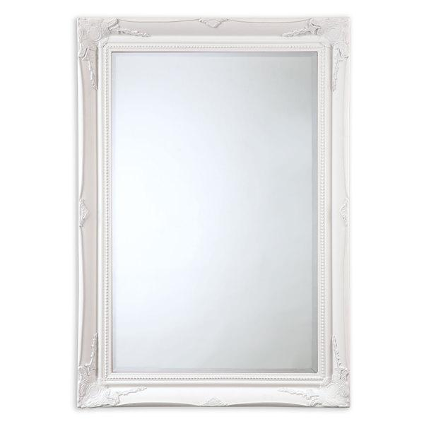 Rectangle White Ornate Wall Mirror