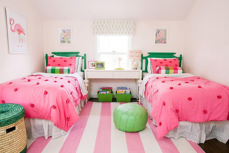 pink and green girls bedroom with pink rugby striped rug