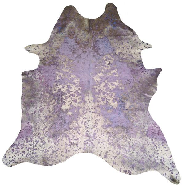 Purple Acid Wash Leather Cowhide Rug
