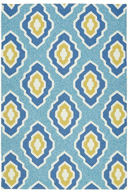Blue And Yellow Quatrefoil Outdoor Rug