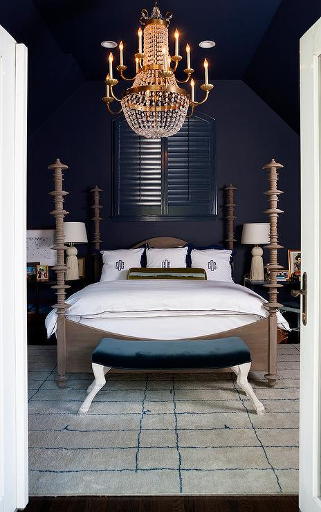 Mini Paris Flea Market Chandelier Over Bed - Transitional - Bedroom